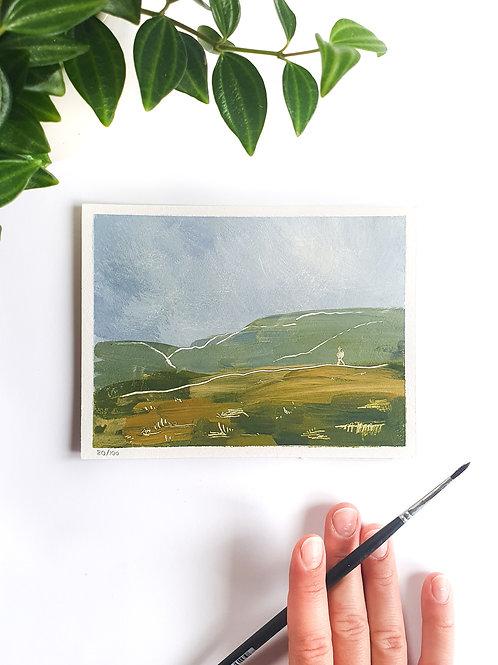 "Day 080: ""Rain Won't Stop Me"" acrylic painting 12x16cm / 5x6"""