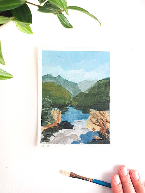 "Day 052: ""Mountain Lake"" acrylic painting 16x12cm / 6x5"""