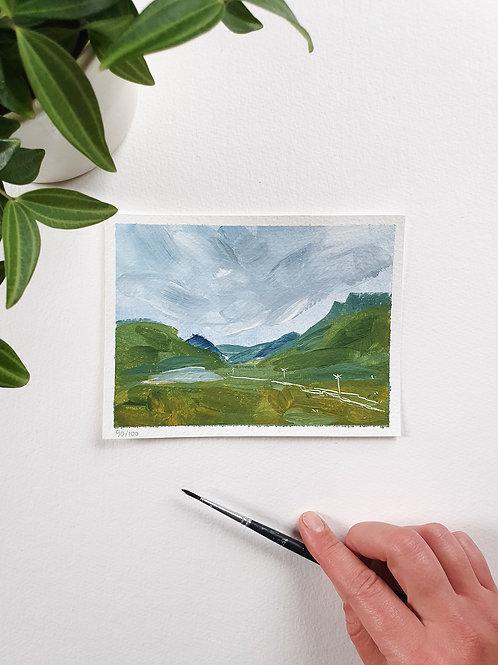 "Day 090: ""On My Way"" acrylic painting 12x16cm / 5x6"""