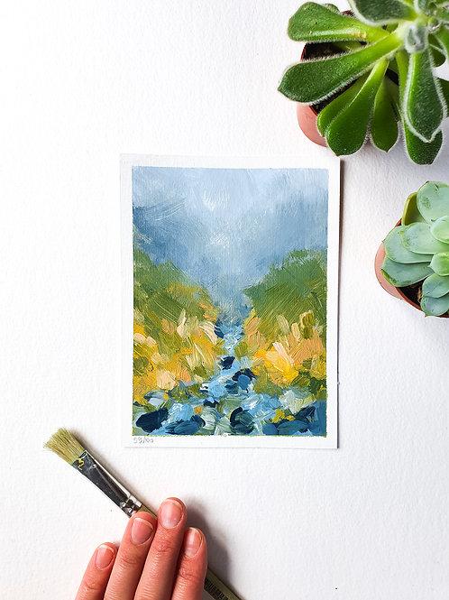 "Day 059: ""Stream Dream"" acrylic painting 16x12cm / 6x5"""