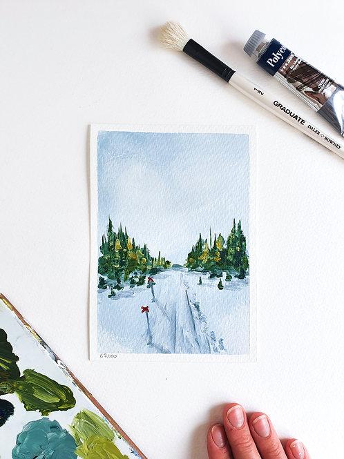 "Day 067: ""Follow the Path"" acrylic painting 16x12cm / 6x5"""