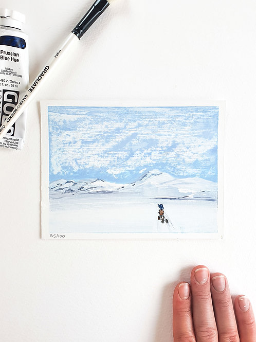 "Day 065: ""Lapland Greetings"" acrylic painting 16x12cm / 6x5"""