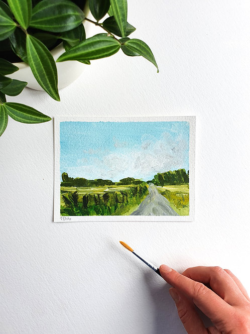 "Day 093: ""Countryside Road"" acrylic painting 12x16cm / 5x6"""