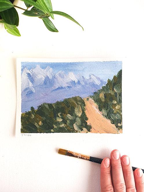 "Day 027: ""Towards"" acrylic painting 13x18cm / 5x7"""