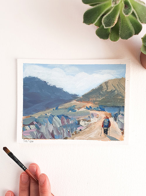 "Day 030: ""Moonwalk"" acrylic painting 16x12cm / 6x5"""