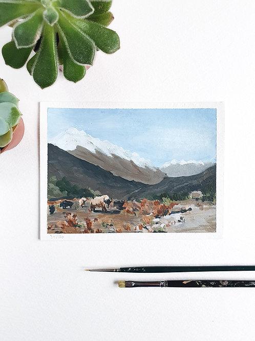"Day 034: ""Yak Land"" acrylic painting 16x12cm / 6x5"""