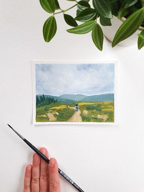 """Day 092: """"New Fields"""" acrylic painting 12x16cm / 5x6"""""""