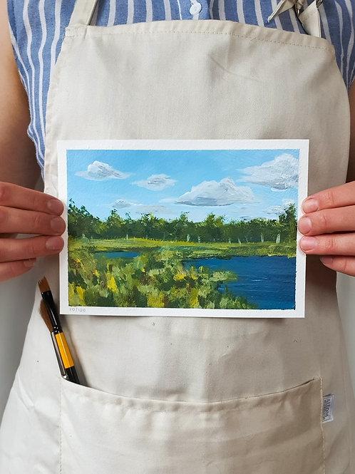 "Day 010: ""Marshland Magic"" acrylic painting 12x17cm / 5x7"""