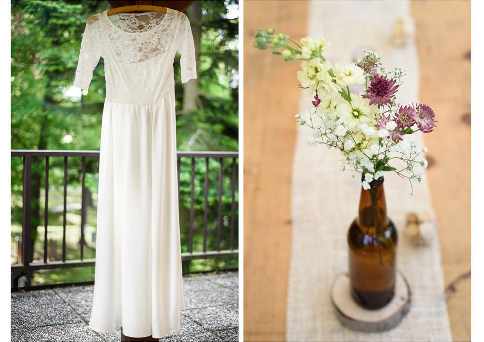 Svatební šaty a svatební výzdoba stolů