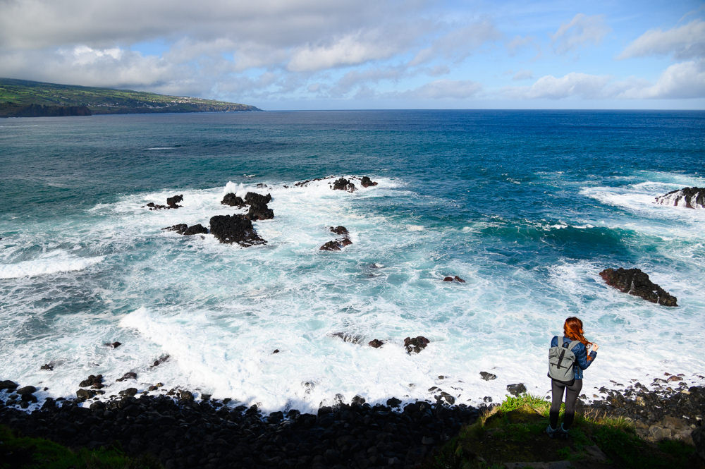 View at blue ocean at Sao Miguel, Azores.