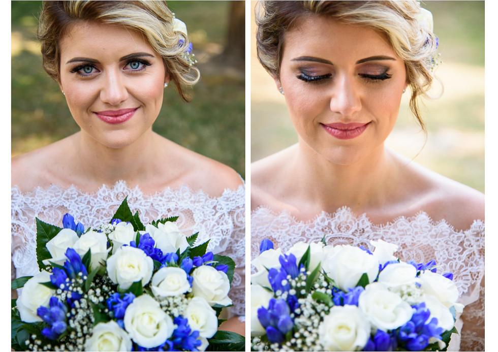 Portrét nevěsty se svatební kyticí z bílých růží