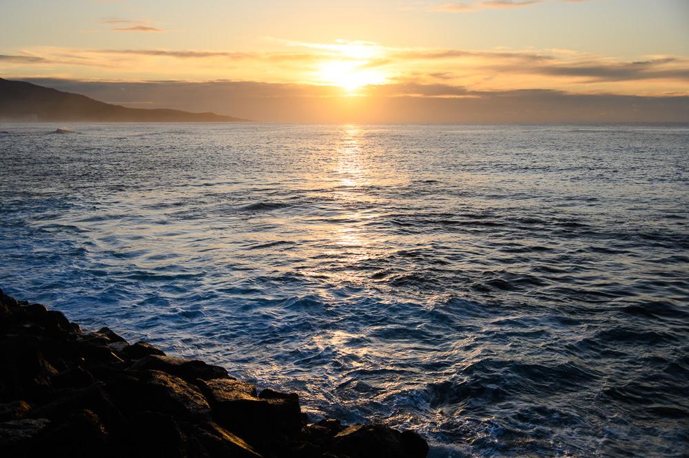 Sunrise over ocean at Ponta Delgada in Azores.