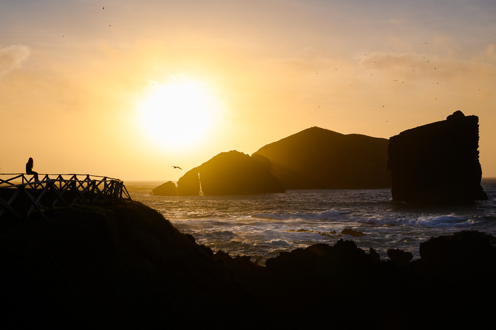 Sunset at Mosteiros beach, Sao Miguel, Azores.