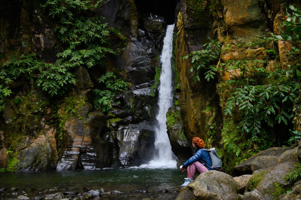 Waterfall Salto do Cabrito in Azores.