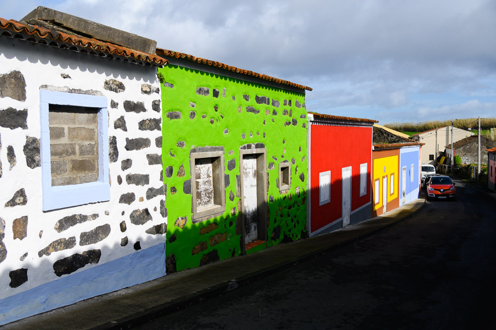 Abandoned colorful azores houses.