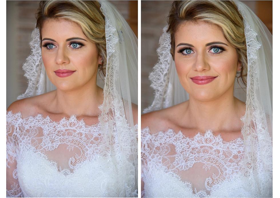 Portrét nevěsty ve svatebních šatech před odjezdem na obřad