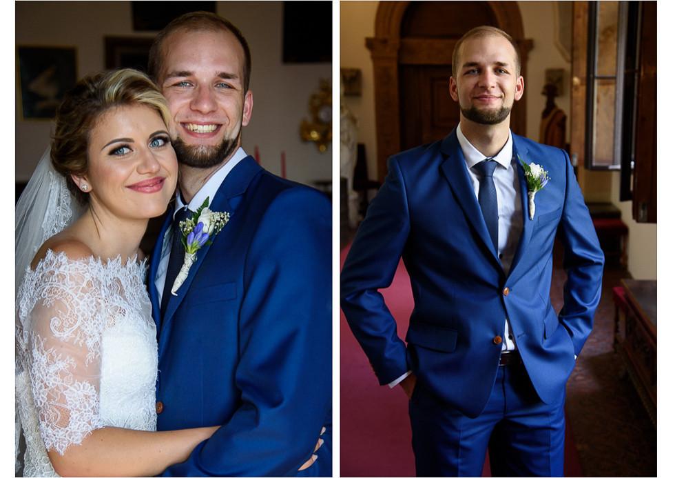 Portrét ženicha a novomanželů