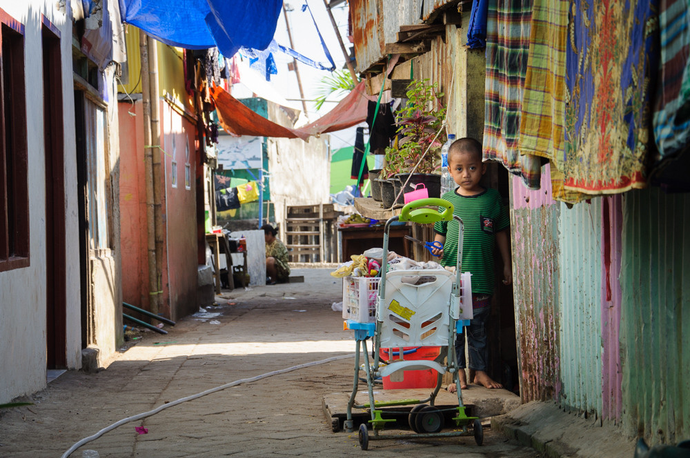 A child in streets surrounding Port Paotere in Makassar, South Sulawesi, Indonesia..