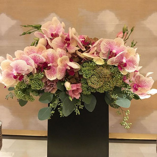 Hotel decor with orchids