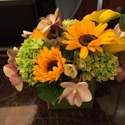 Desk top arrangement with sunflowers.JPG