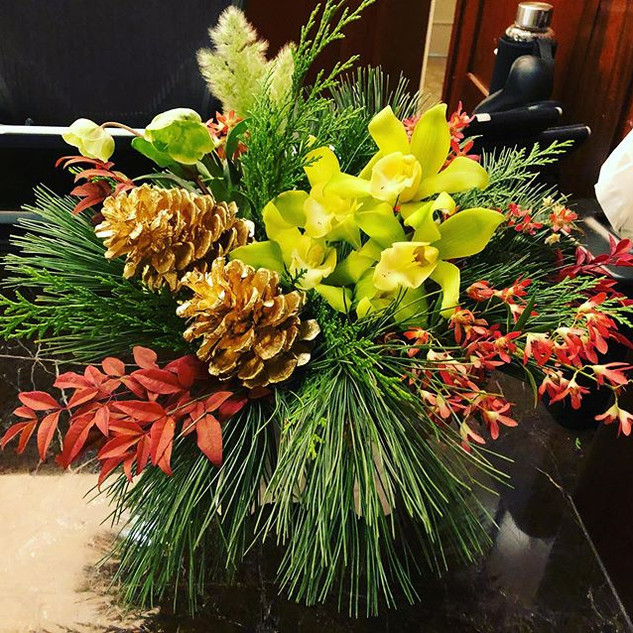 Christmas arrangement with orchids