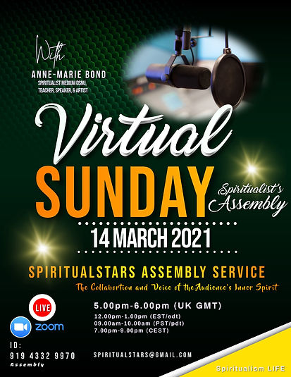 Virtual Sunday Spiritualist service flye