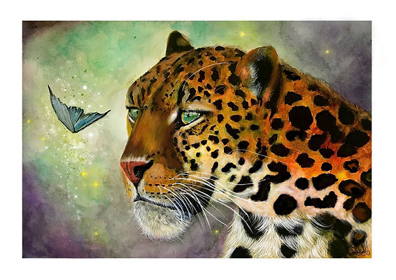 Butterfly Leopard magical painting