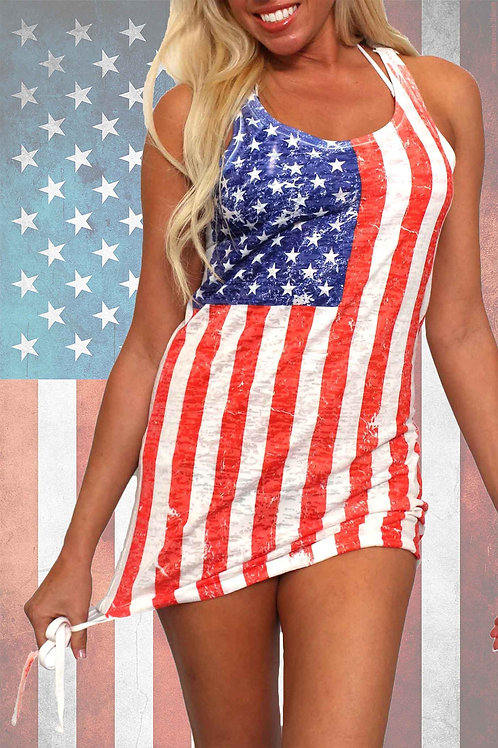 USA Distressed Flag Burnout Tank Dress Cover-Up Made in the USA