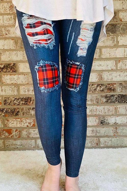 Buffalo Plaid Patch Jean Printed Leggings - RTS