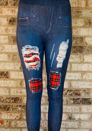 buffalo-plaid-patch-jean-printed-legging