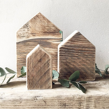 Mini Rustic Houses - set of 3