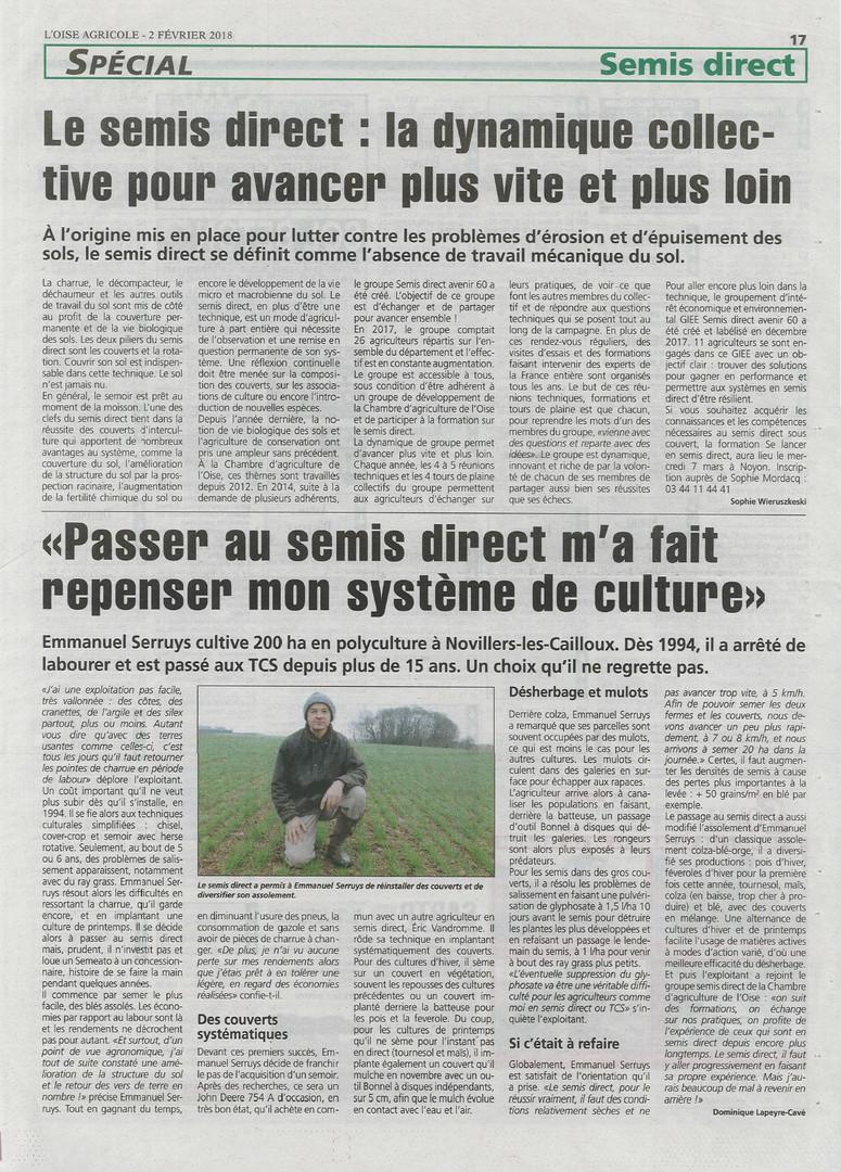 Article Oise agricole 2018