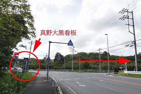 千倉方面から県道187号館山-千倉線 真野寺への入り口 矢印付き.jpg