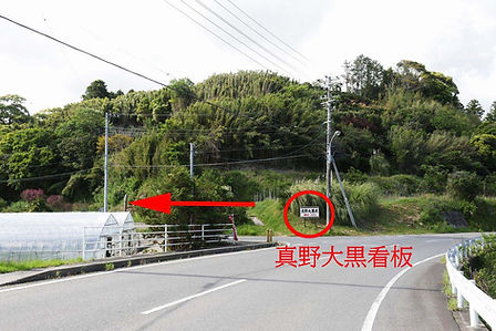 館山方面から県道187号館山-千倉線経由 真野寺への入り口 矢印付き.jpg