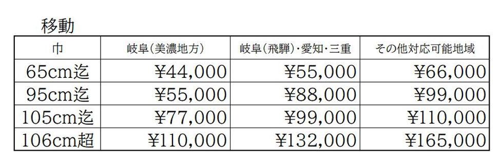仏壇移動価格表 開成堂