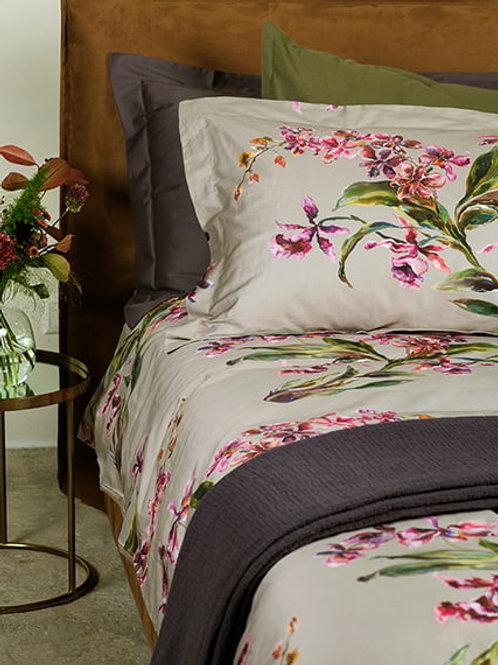 satīna gultas veļa Orchids almond