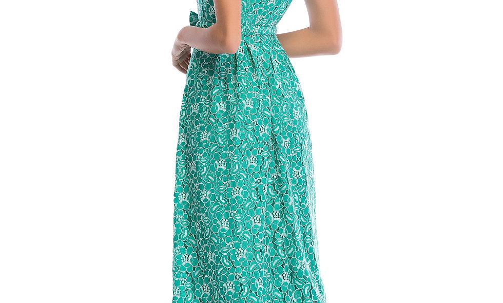AZZARIA Women Flower Fantasia Green Dress long
