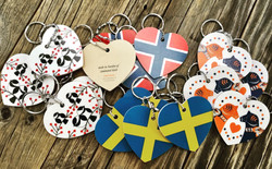 Scandinavian laminated birch key rings
