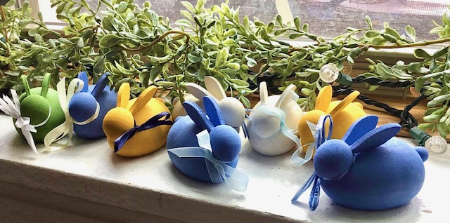 Hand carved bunnies from Sweden