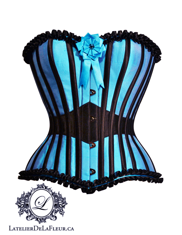 Turquoise and black overbust