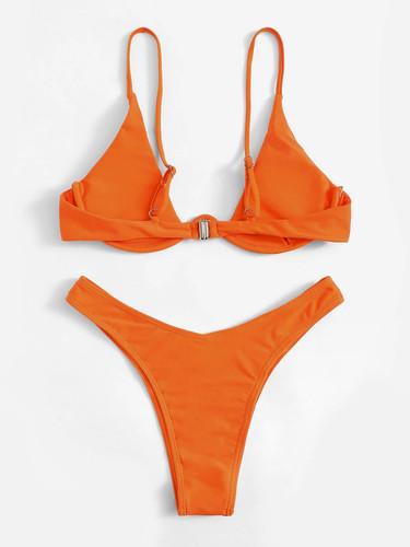 f7ae7534ad Underwire Top With High Cut Bikini Set Orange