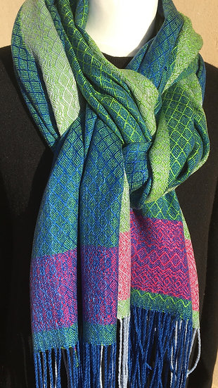 Blue, Green & Pink Lyocell Scarf