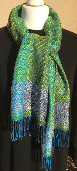 Shades of Blue and Green Tencel Scarf - please check with me before purchase