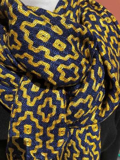 """""""Dominic"""" Navy and Gold Lyocell Scarf"""
