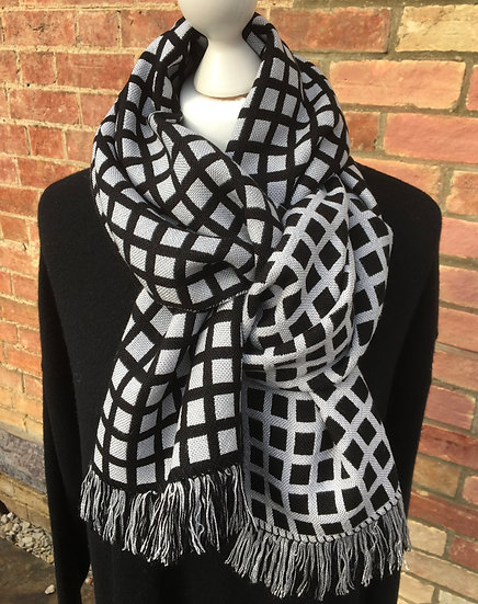 Black and Silver Window Tencel Scarf - please check with me before purchase