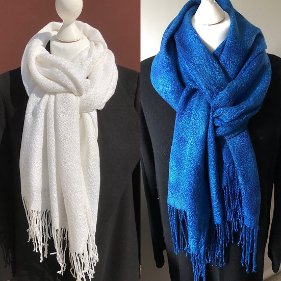 White Textured Lyocell Scarf 2 - subsequently dyed