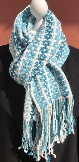 Chain Flower Turquoise and Teal scarf