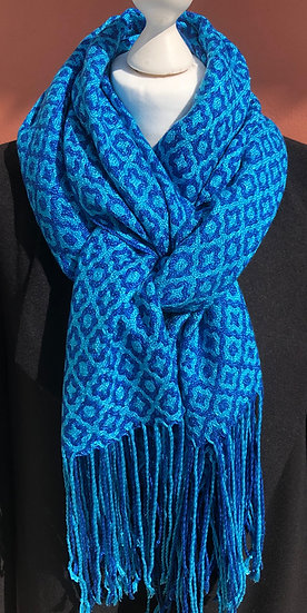 Royal and Turquoise Diamond Lyocell Scarf