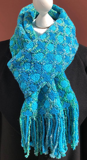 Circles and Stars Turquoise& Green scarf