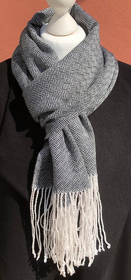 White and Black Tencel Dress Scarf - please check with me before purchase